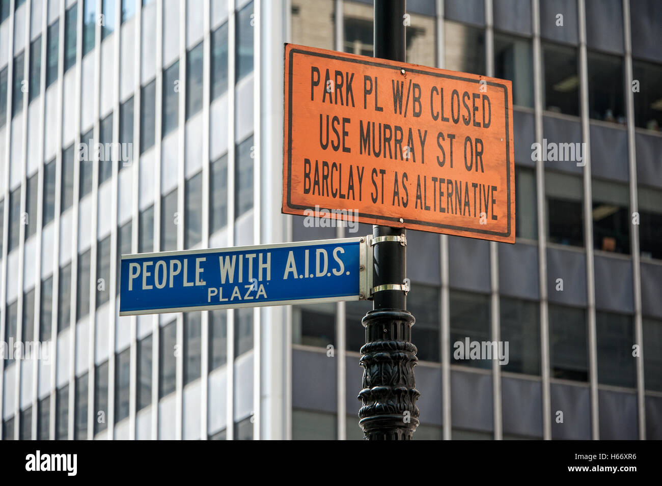 Street sign  'People with AIDS Plaza', SoHo, Manhattan, New York City - Stock Image