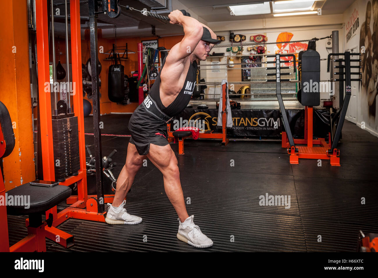 bodybuilder exercising in the gym Stock Photo