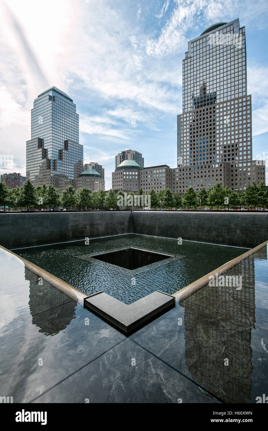 Memorial, 9/11 Memorial, North Pool at Ground Zero, Manhattan, New York City - Stock Image