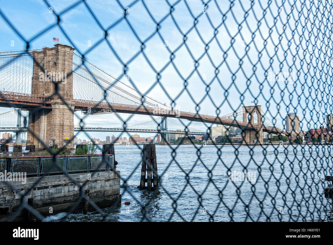 View of Brooklyn Bridge, East River, connects boroughs Manhattan and Brooklyn, Manhattan, New York City - Stock Image