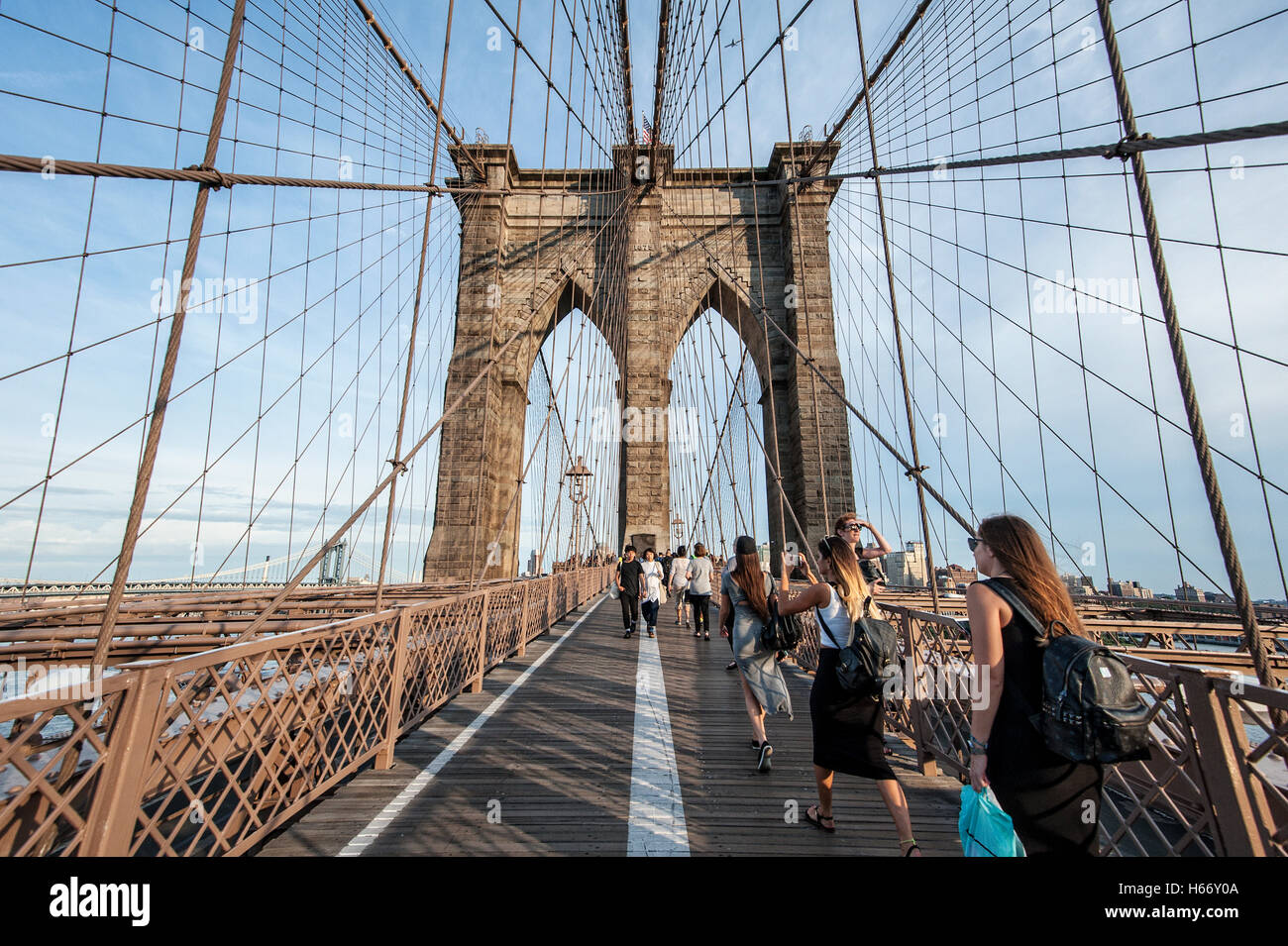 Brooklyn Bridge, steel-wire suspension bridge, East River, connects boroughs Brooklyn and Manhattan, New York City - Stock Image