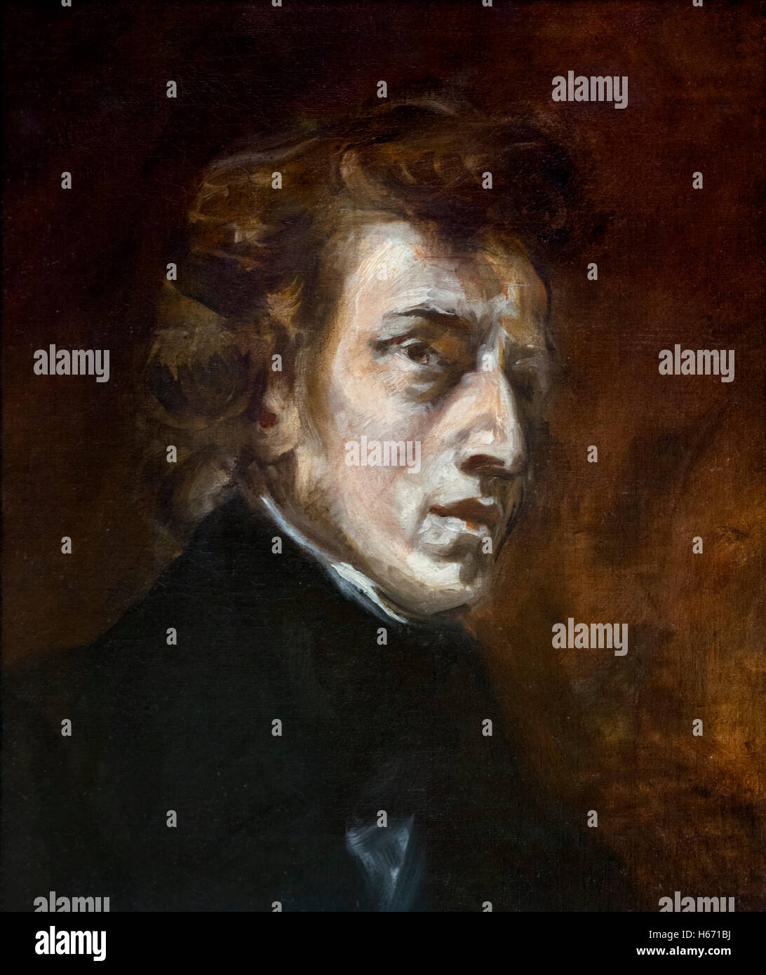 Chopin. Portrait of the Polish composer and pianist, Frédéric Chopin (1810-1849) by Eugène Delacroix, - Stock Image