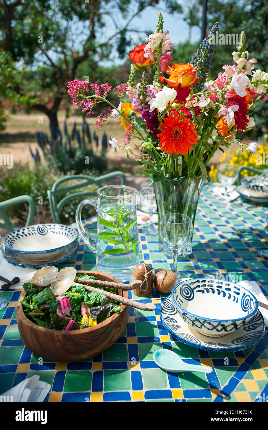 Summer Lunch setting al fresco - Stock Image