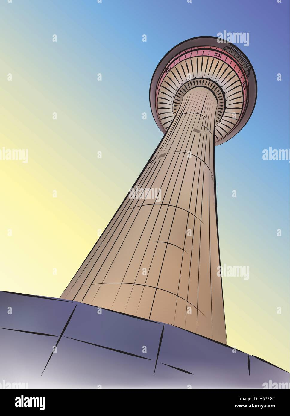 Looking up at the Calgary Tower, in Downtown Calgary, Alberta, Canada - vector illustration. - Stock Vector