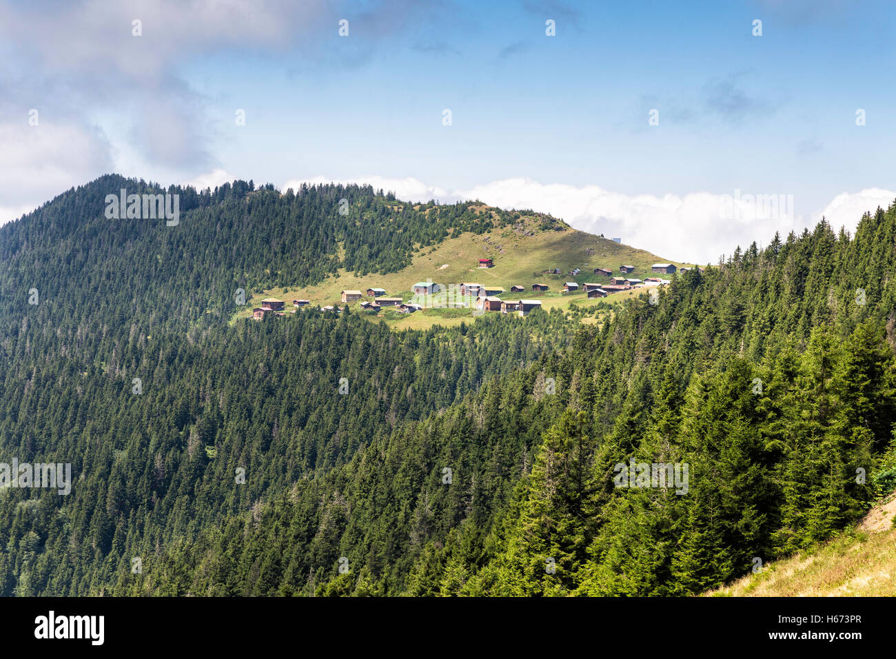 Remote view of the houses in Sal plateau near Senyuva, Camlihemsin. Camlihemsin is a small town and district of - Stock Image
