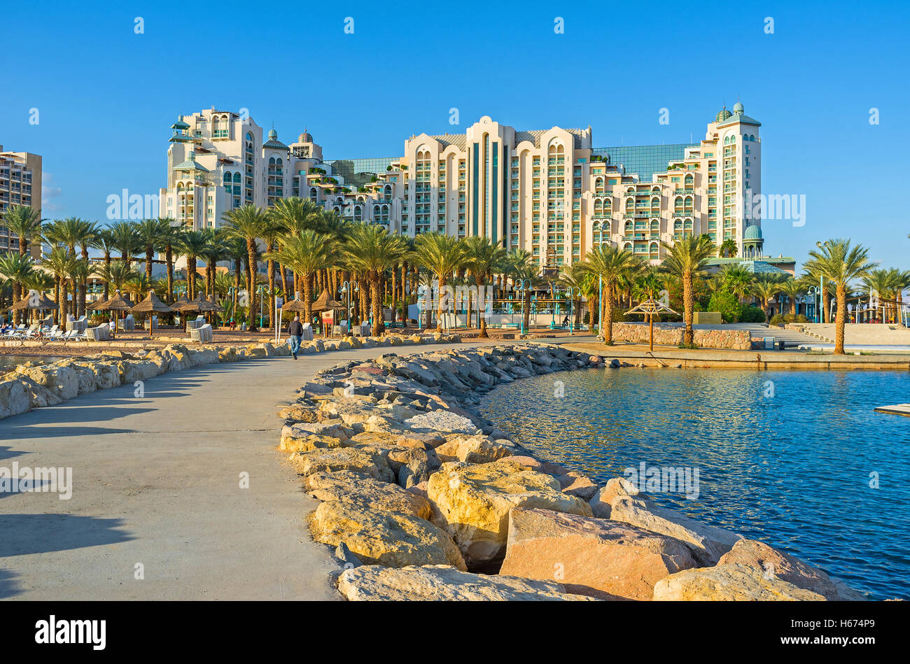 The promenades and piers of Eilat are the best places in resort to enjoy the lazy walks and views, Israel. - Stock Image