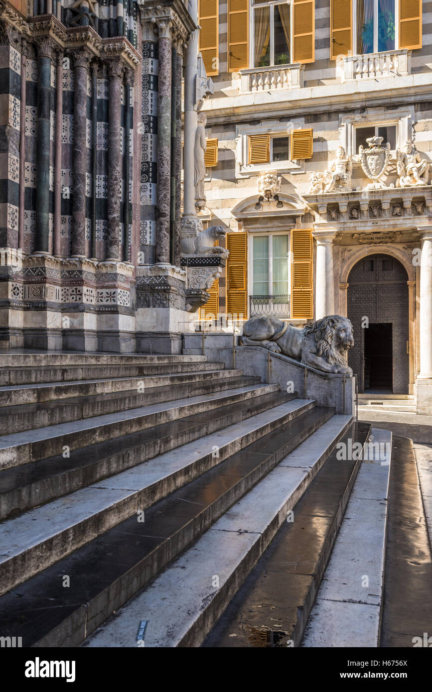Lion statue of San Lorenzo Cathedral, Duomo di Genoa, Liguria, Italy - Stock Image