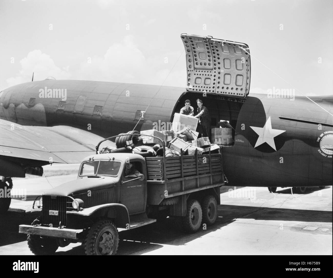 U S  Army Air Transport Command Airplane Being Loaded, David