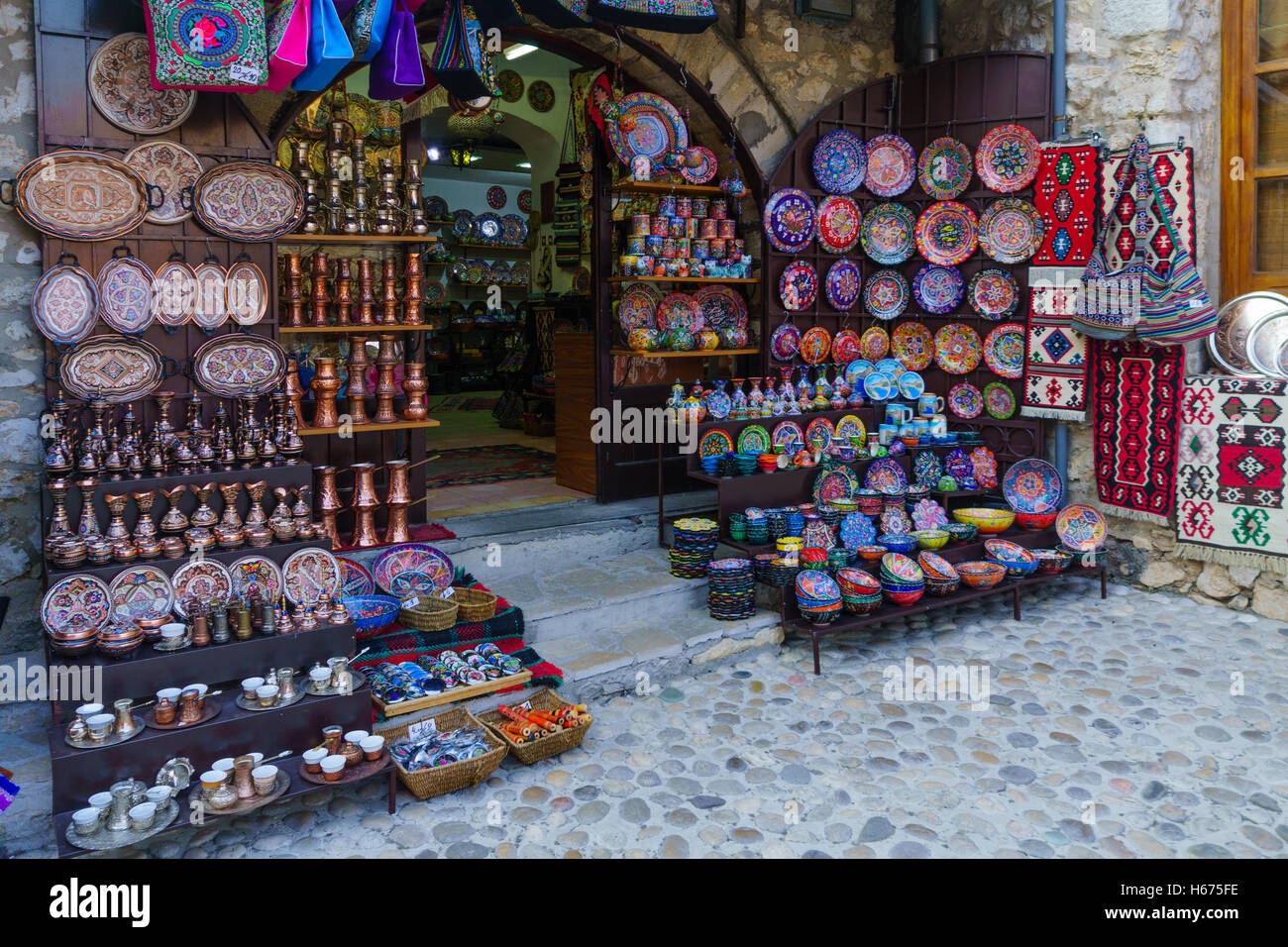 MOSTAR, BIH - JULY 05, 2015: Typical Souvenirs store, in Mostar, Bosnia and Herzegovina - Stock Image