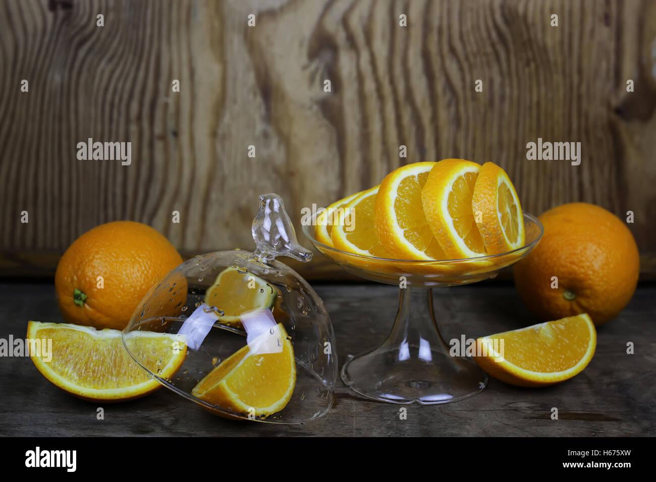 orange fruit wooden background Stock Photo