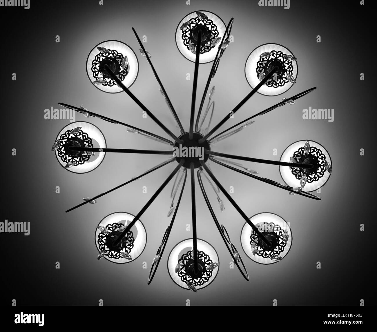 chandelier on the ceiling monochrome - Stock Image