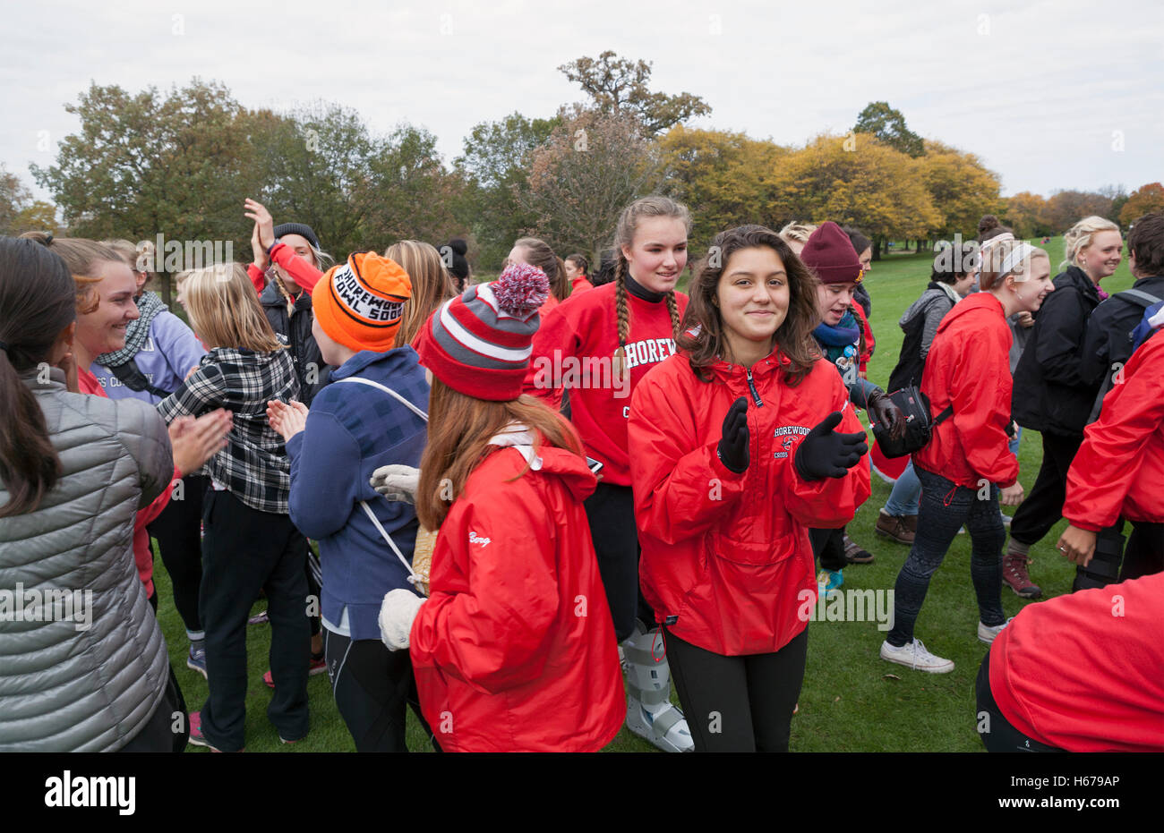 The Shorewood High School girls' Cross Country team prepares for a Sectional meet in Wisconsin. - Stock Image