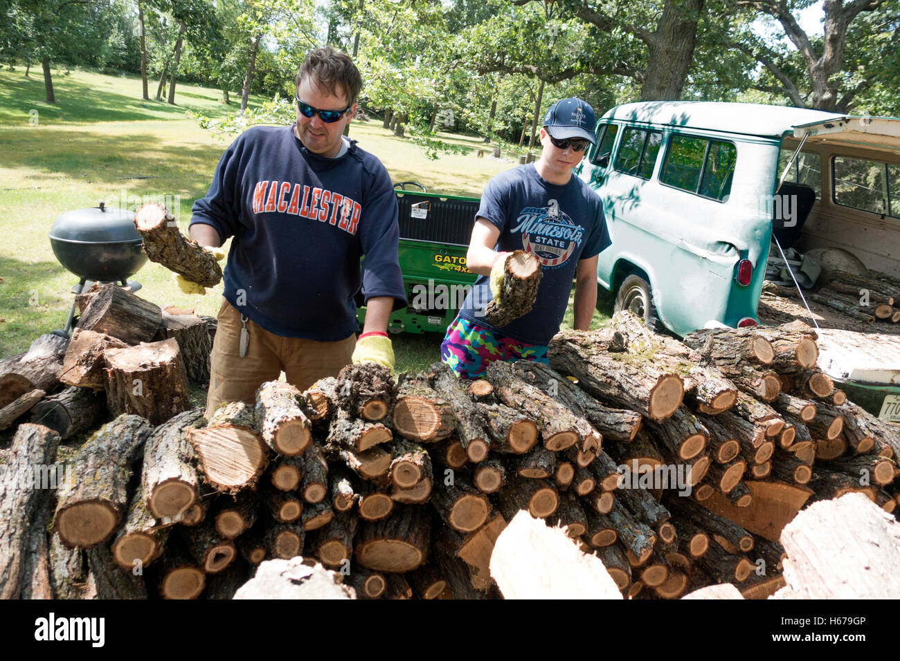 Father and son stacking firewood cut from downed tree. Transported with 56 Chevy Suburban Carryall. Clitherall Minnesota - Stock Image