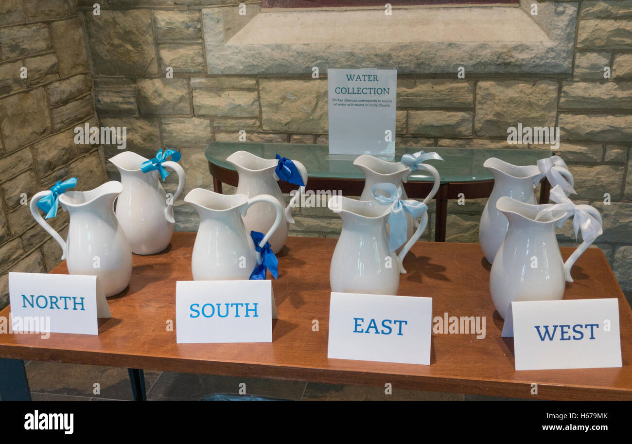 Unity Church-Unitarian collects water from parishioners, filters it, and uses it for baptism ceremony. St Paul Minnesota - Stock Image
