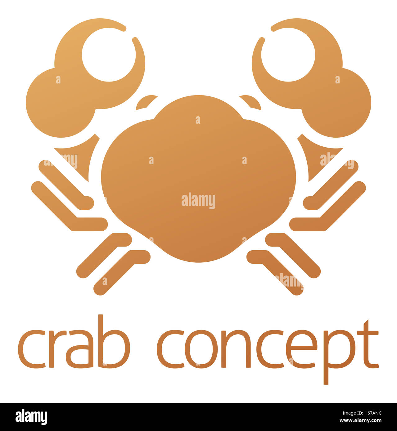 A conceptual illustration of a crab icon with space for text Stock Photo