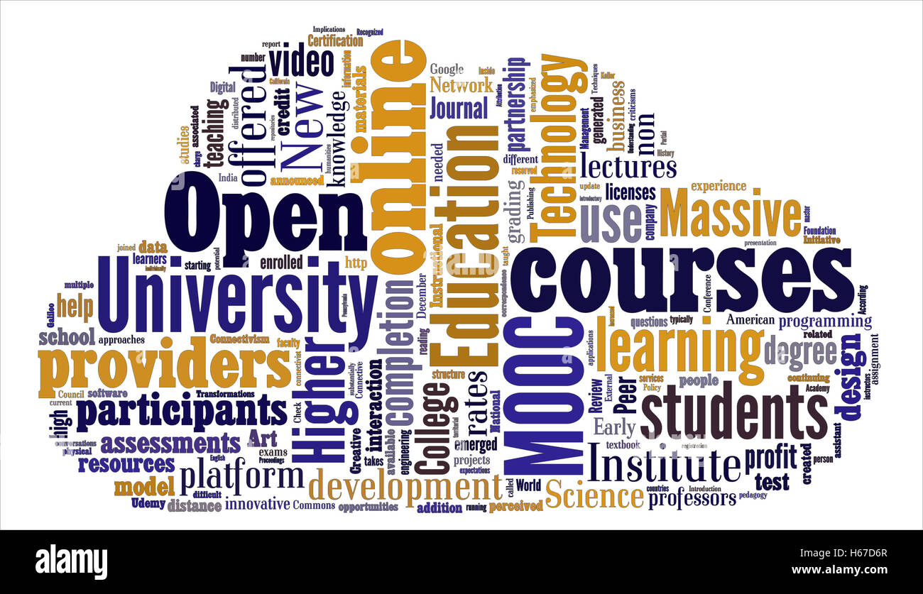 Word cloud on Mooc learning technology - Stock Image