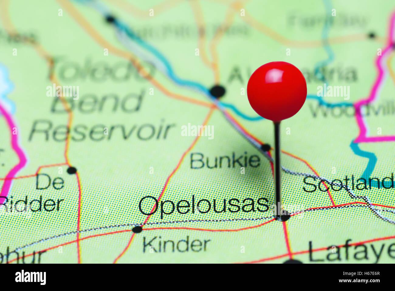 Opelousas Louisiana Map.Opelousas Pinned On A Map Of Louisiana Usa Stock Photo 124325343