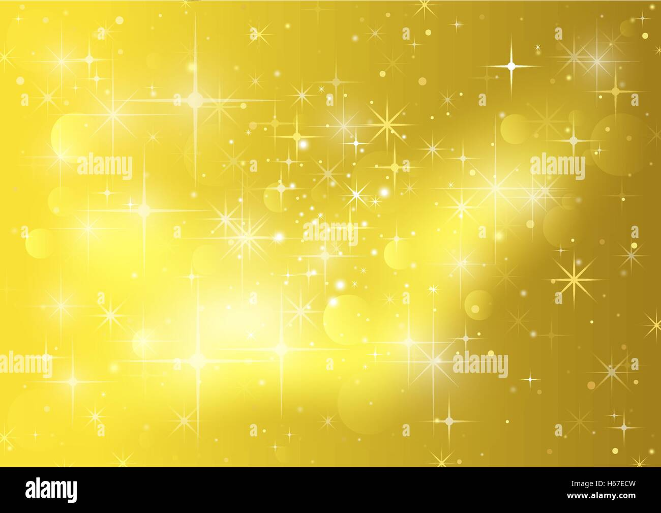 Gold Background With Stars And Sparklers - Stock Vector