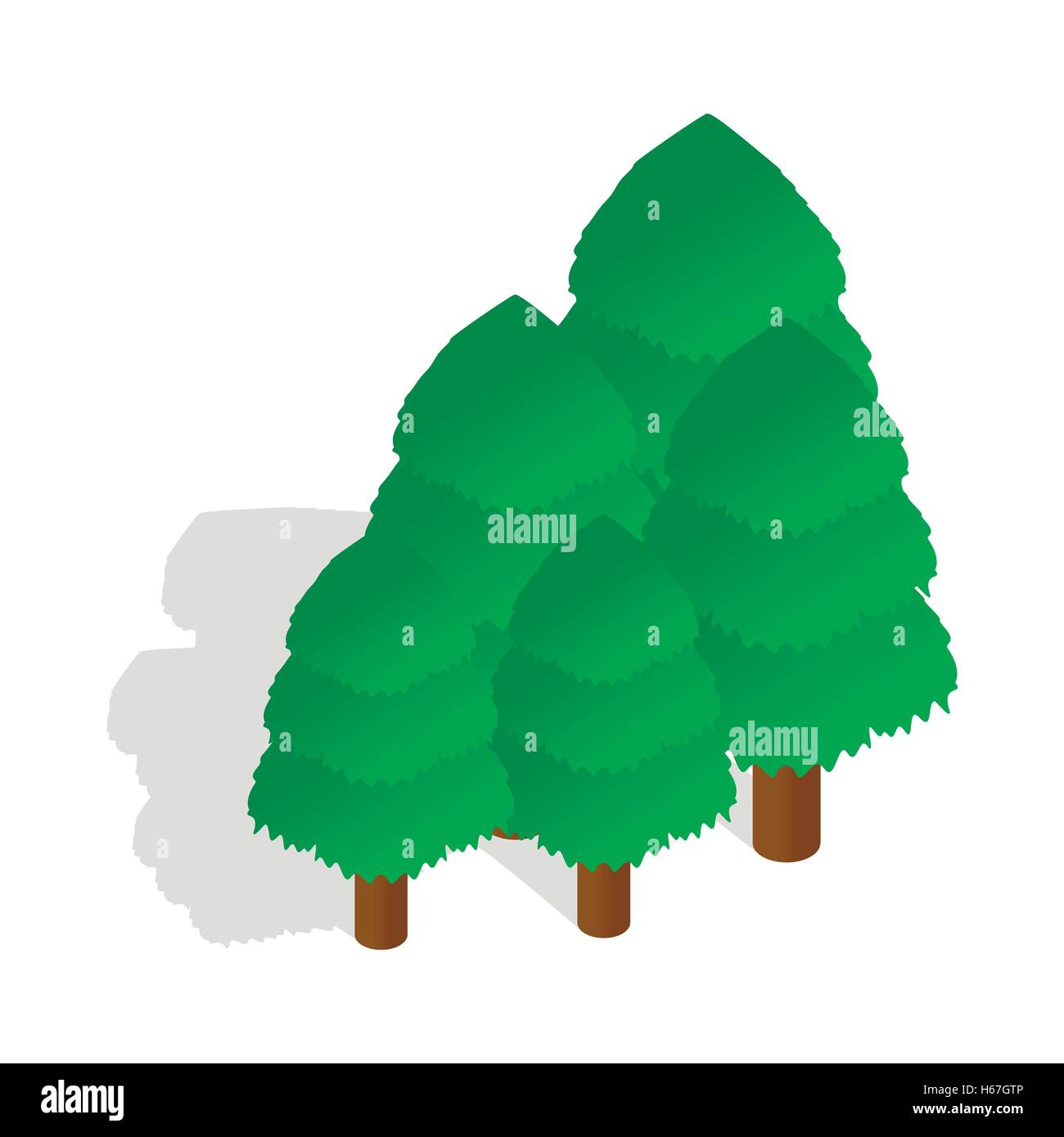 Trees icon in isometric 3d style - Stock Image