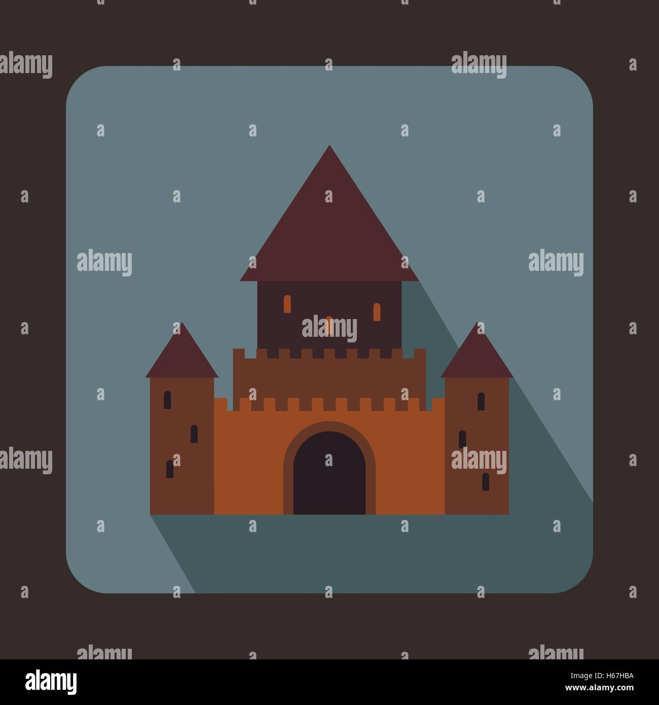 Chillon Castle, Switzerland icon, flat style - Stock Vector