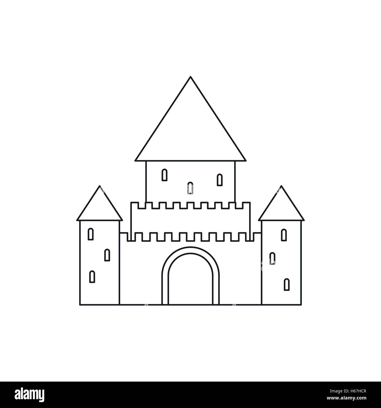 Chillon Castle, Switzerland icon, outline style - Stock Vector