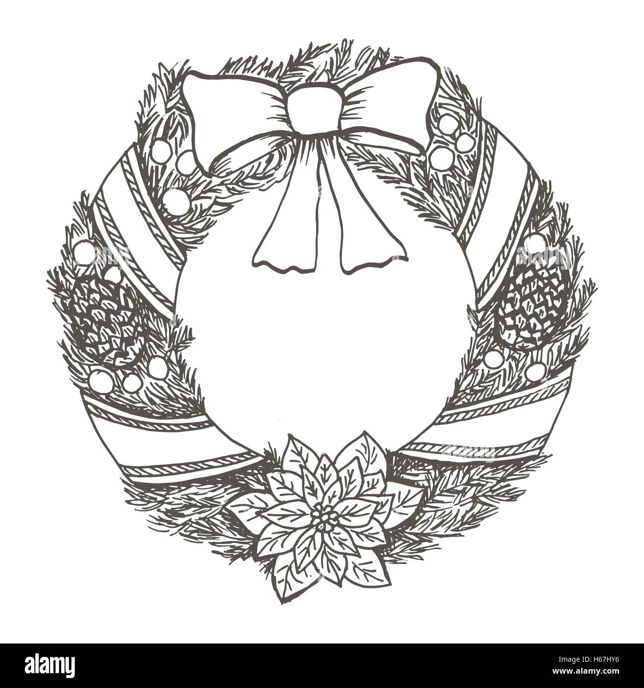 Christmas Wreath Drawing.Hand Drawn Doodle Christmas Wreath Black Pen Objects