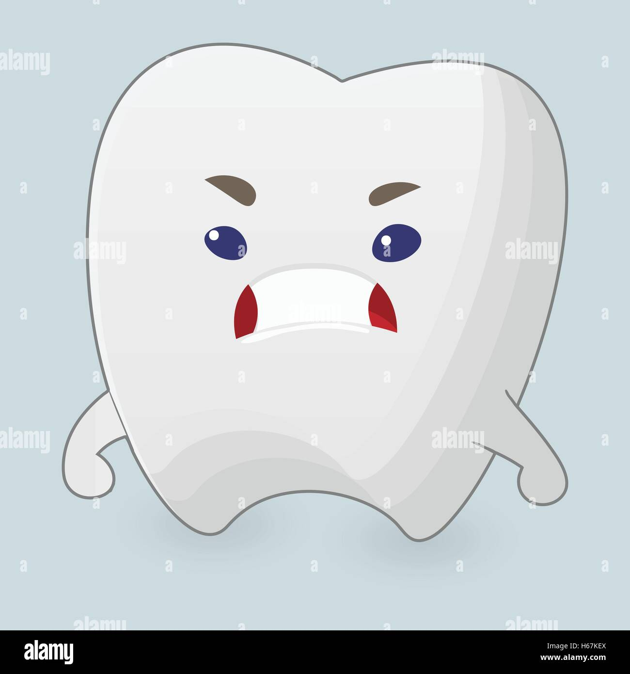 Illustration of angry tooth - Stock Vector