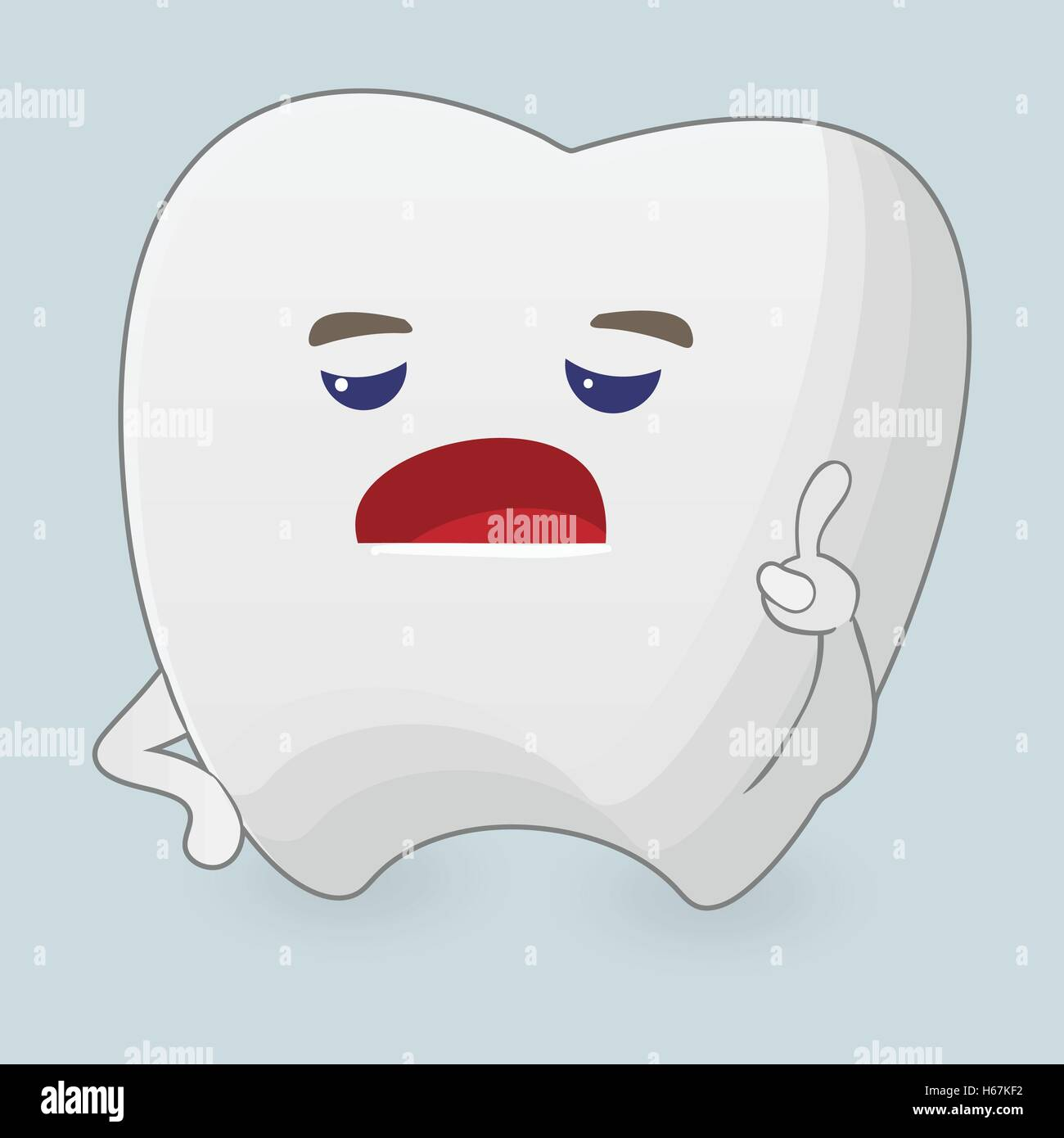 Illustration of displeased tooth - Stock Vector