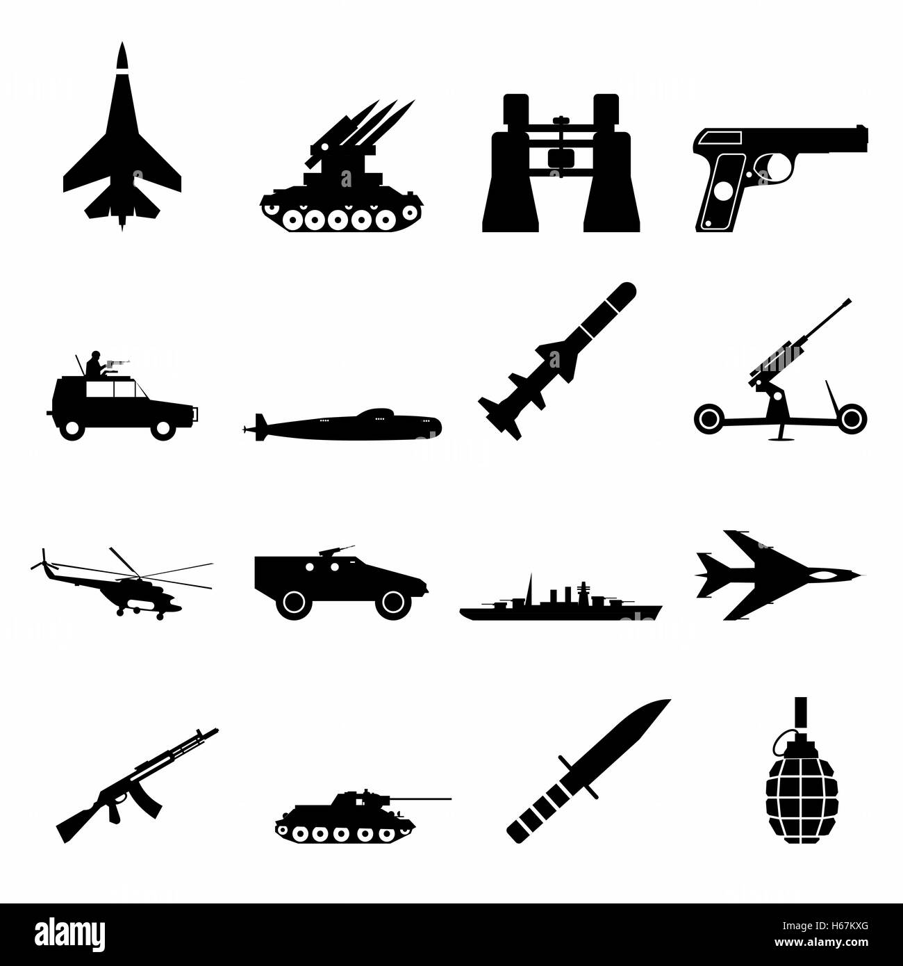 16 weapon simple icons set - Stock Image