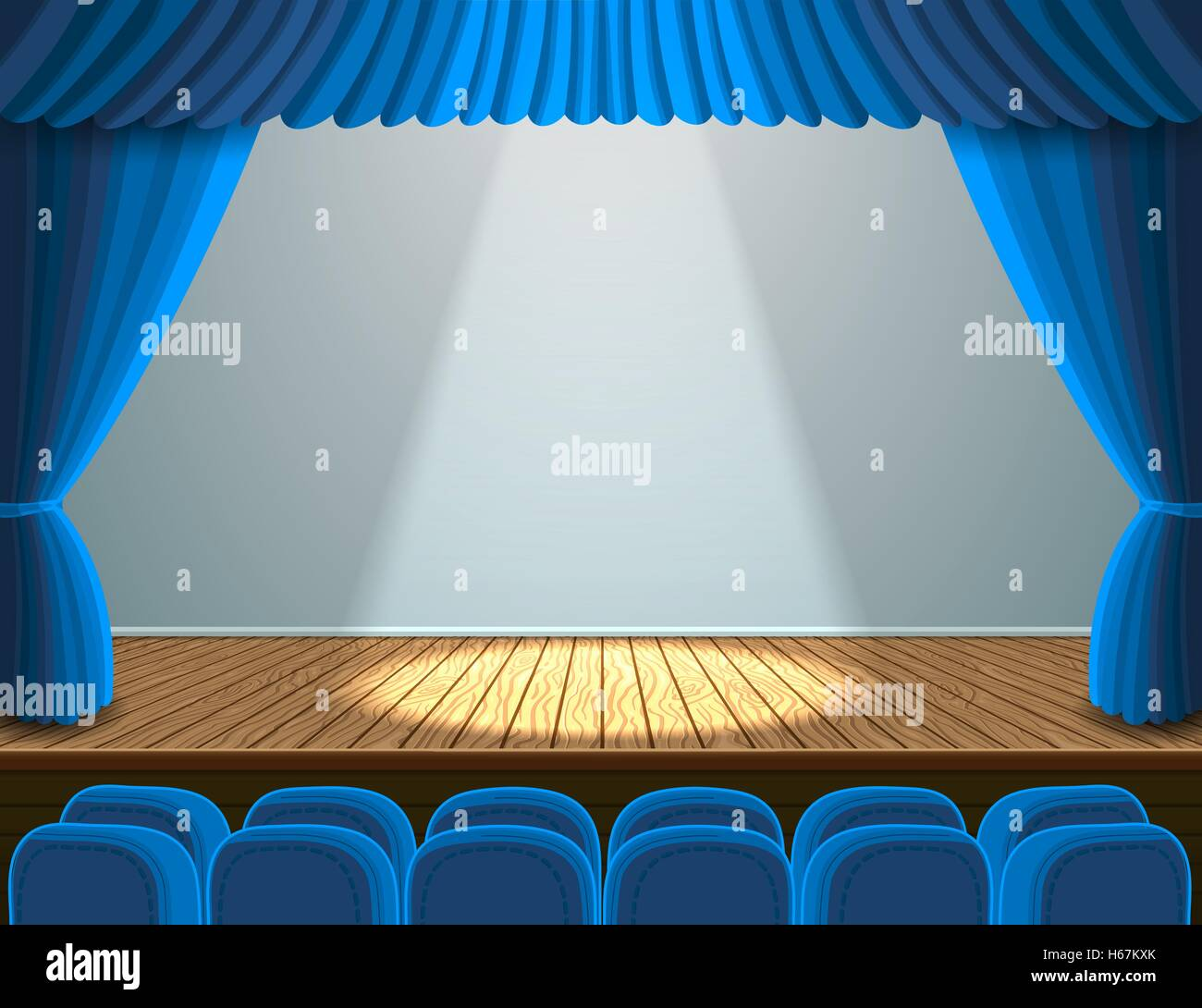Spotlight on the theater stage - Stock Vector