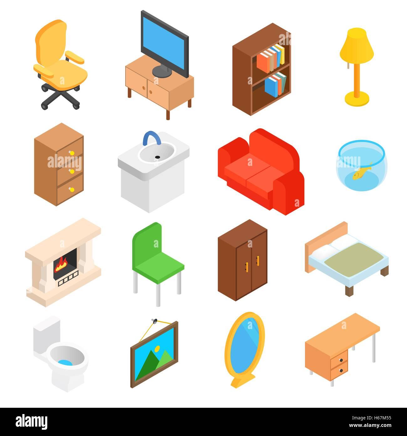Furniture for living room isometric Stock Vector Art & Illustration ...