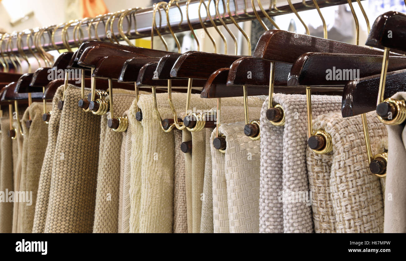 Merveilleux Many Hangers With Woven Fabrics And Tablecloths On Sale In The Haberdashery