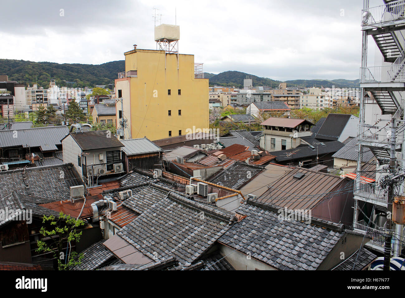View of Kyoto city in cloudy day, Japan Stock Photo