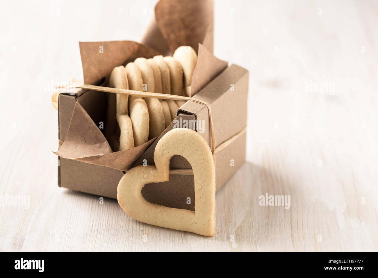 Gift Box Filled With Homemade Heart Cookies For Valentines Day On