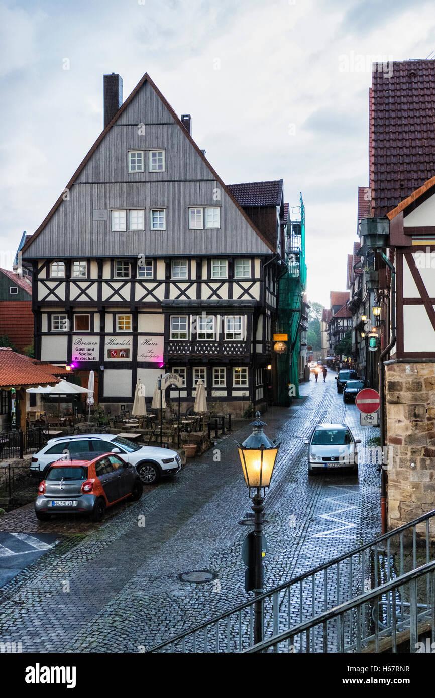 Bremer Handels Haus biergarten, beer garden & restaurant in historic half timbered building. Hann. Münden, - Stock Image
