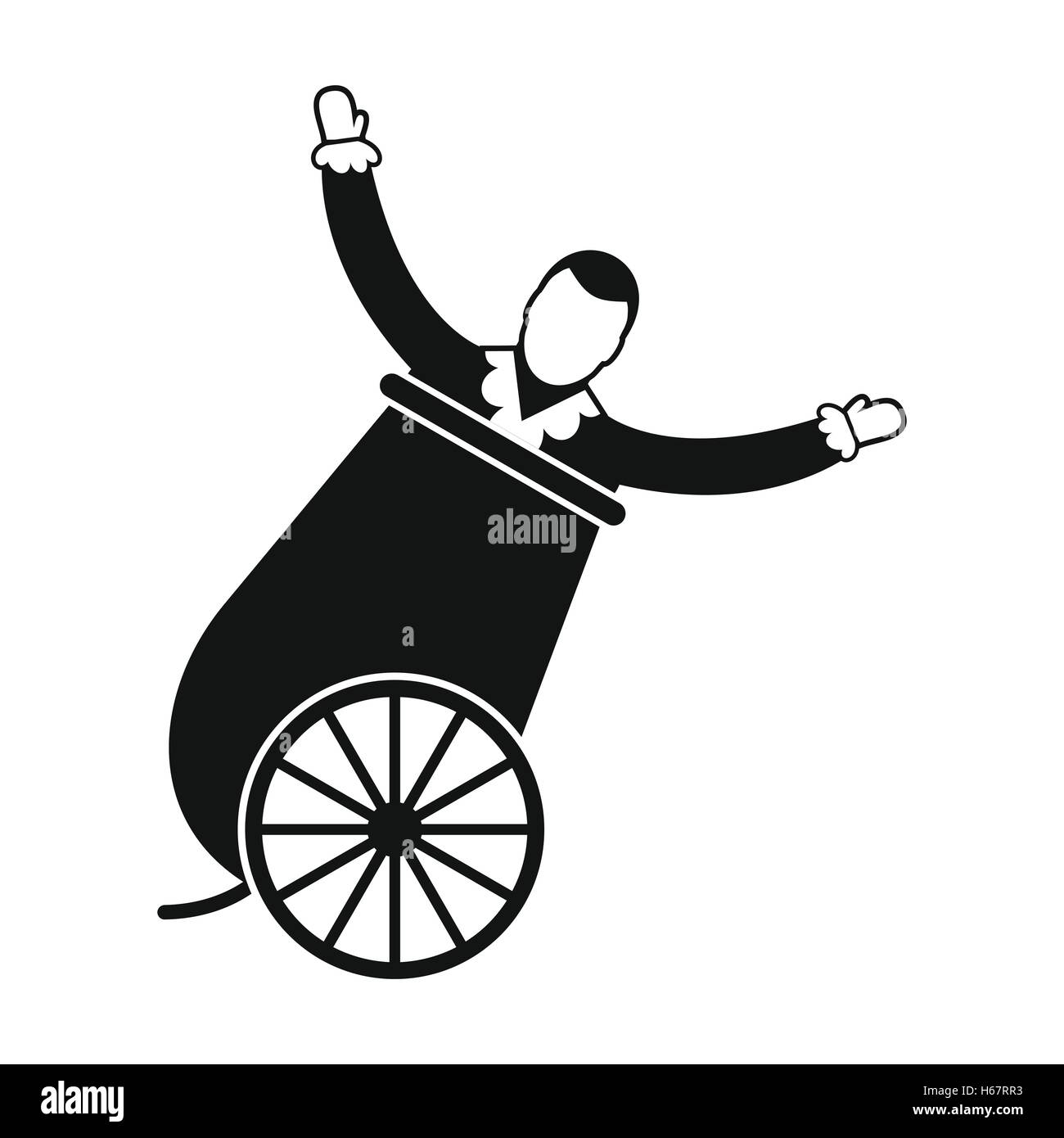 Circus man in cannon simple icon - Stock Image