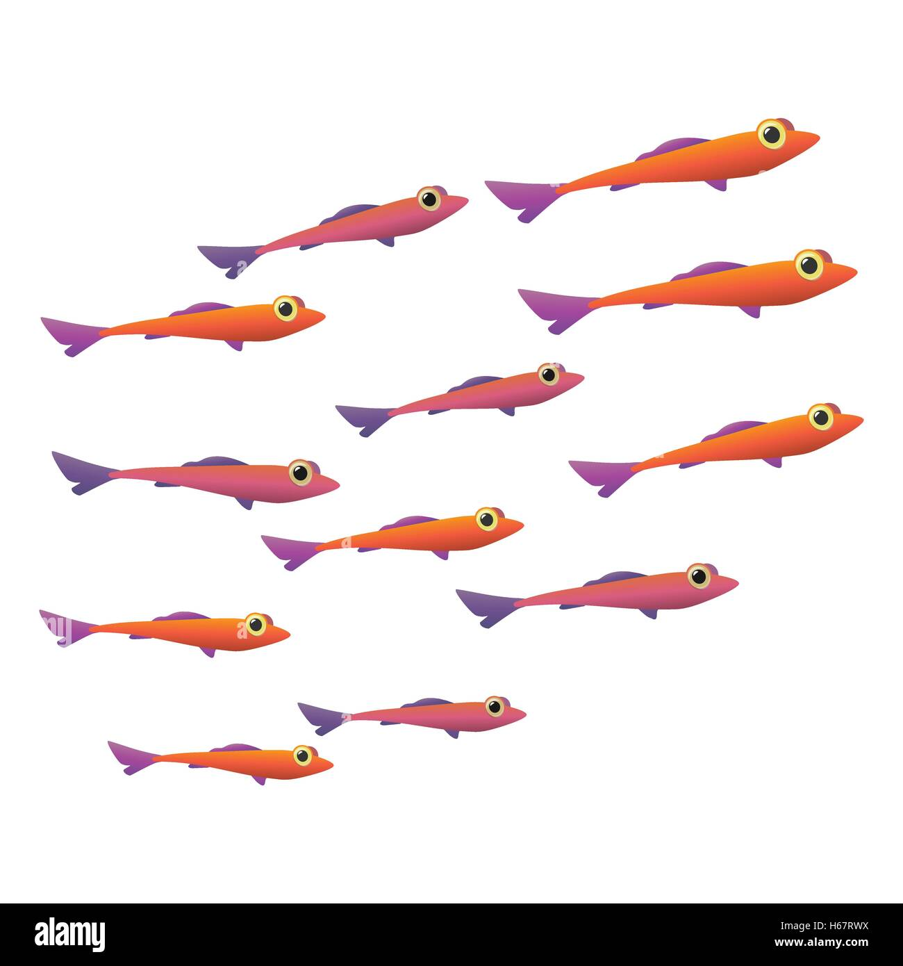 Group of small fish icon - Stock Image