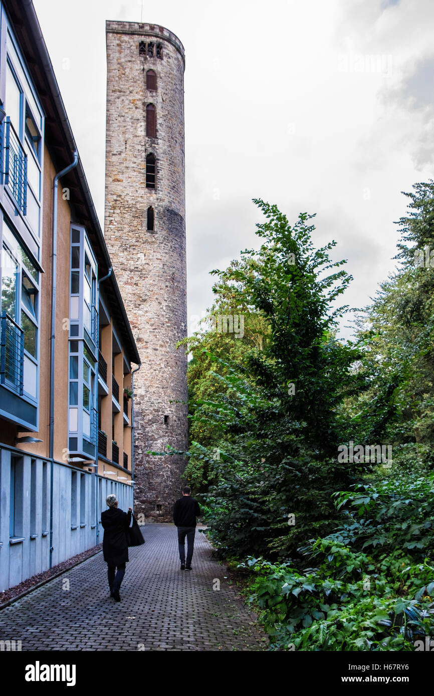 Hann. Münden, Lower Saxony, Germany. Fortification stone wall tower in historic medieval old town Stock Photo