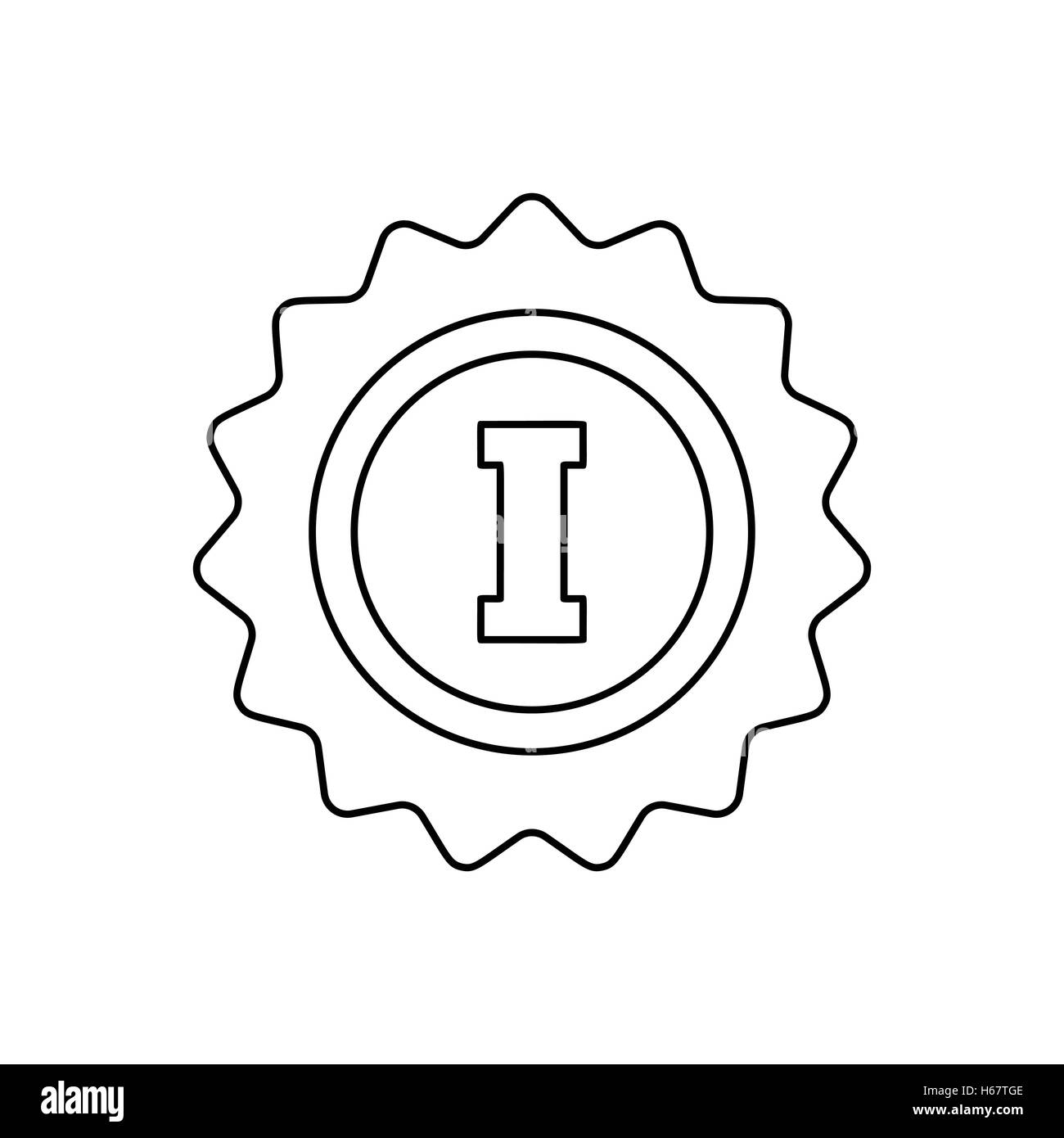 1st place rosette line icon - Stock Image