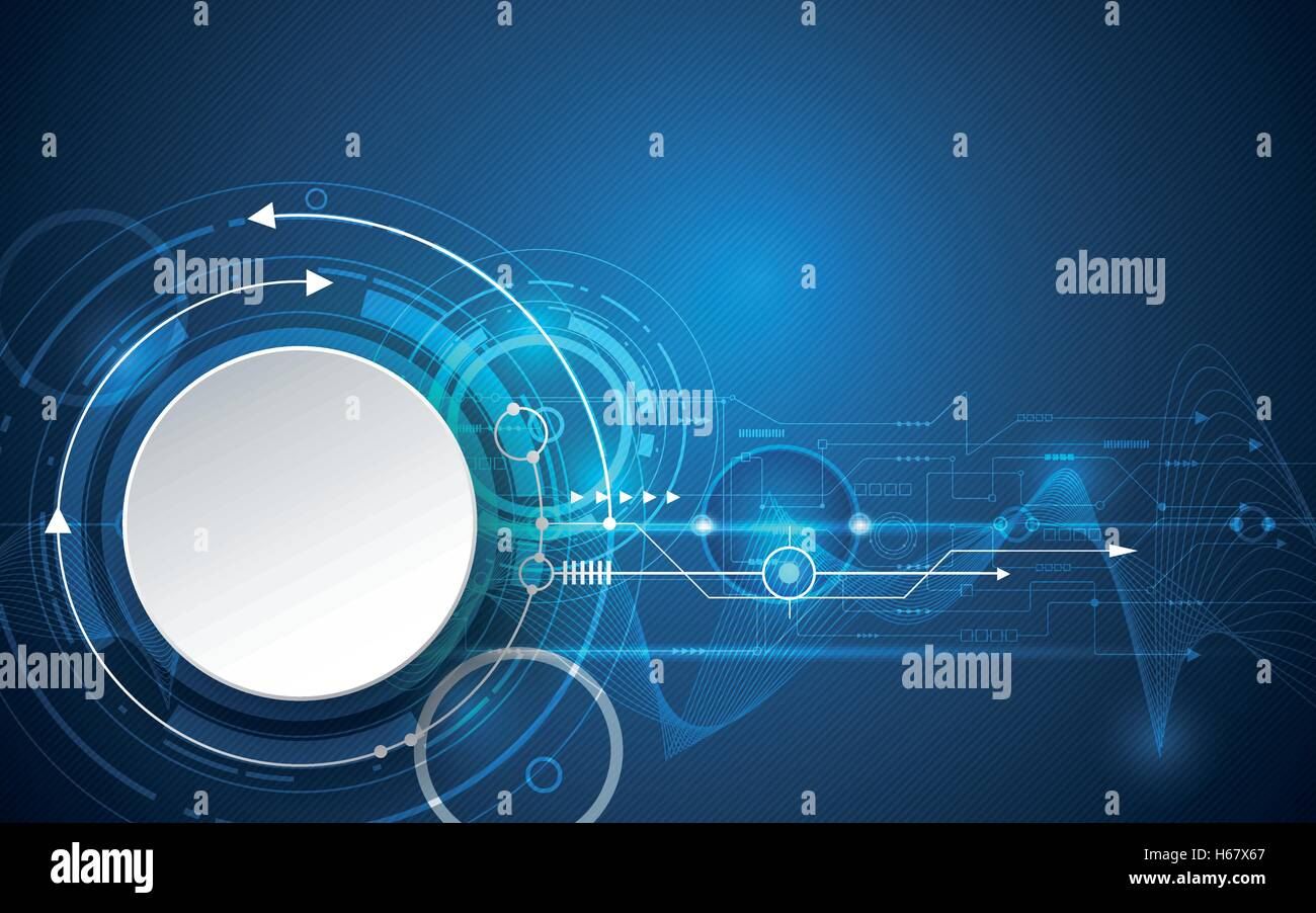Vector illustration 3d white paper circle with wave lines and circuit board, Hi-tech digital technology, engineering, - Stock Image