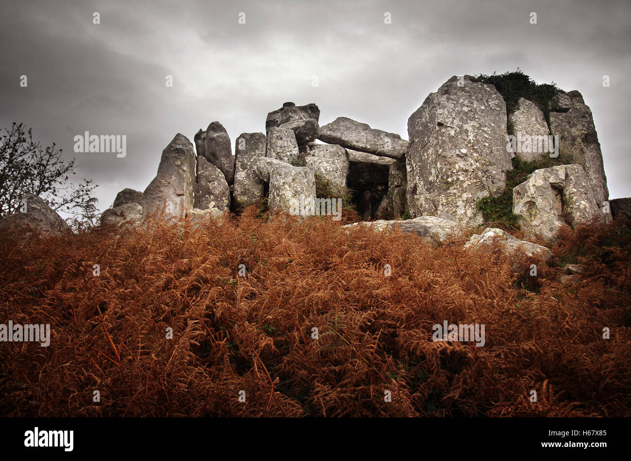 Prehistorical granite dolmen, temple of the dead, in Sintra Portugal - Stock Image