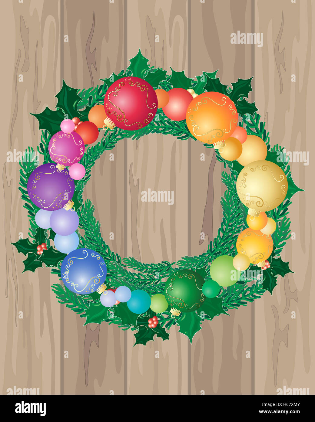 an illustration of wooden floor boards with a festive Christmas wreath decorated with colorful baubles and holly Stock Photo