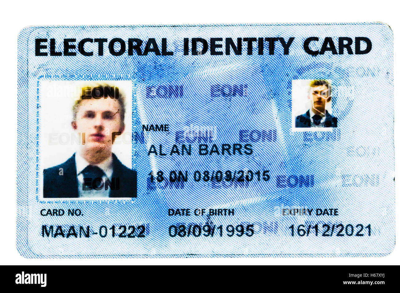 Electoral Identify Card from EONI, Northern Ireland Stock