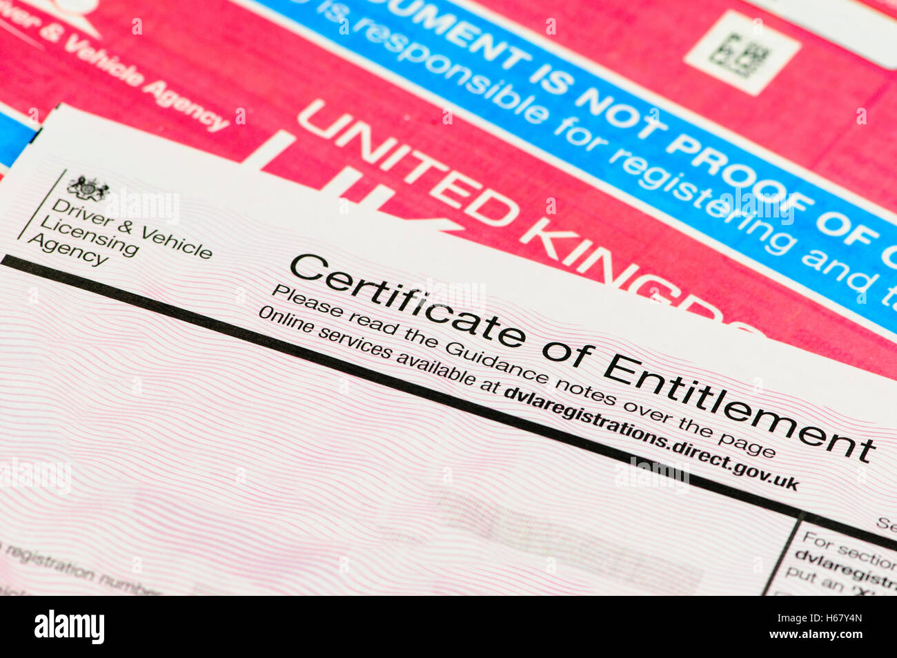 Certificate of Entitlement for personalised number plates from DVLA with V5C registration certificate. Stock Photo