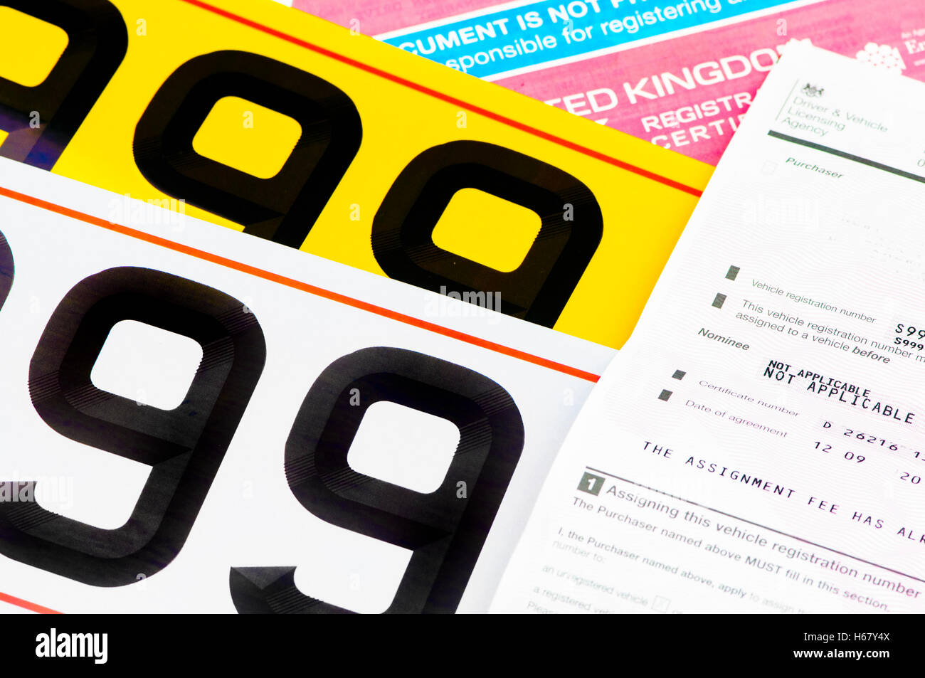 Certificate of Entitlement for personalised number plates from DVLA with V5C registration certificate. - Stock Image