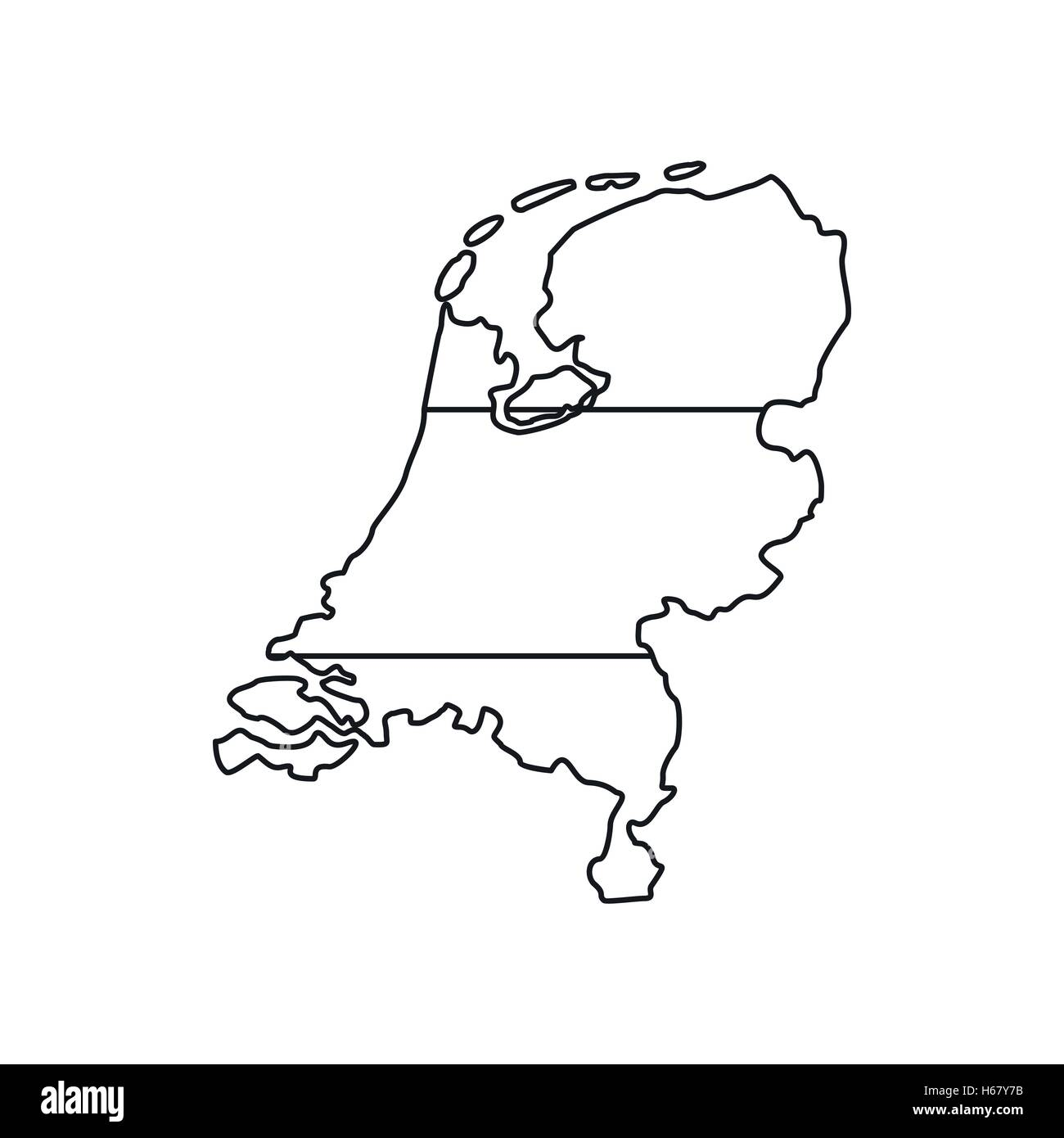 Holland map icon, outline style - Stock Vector