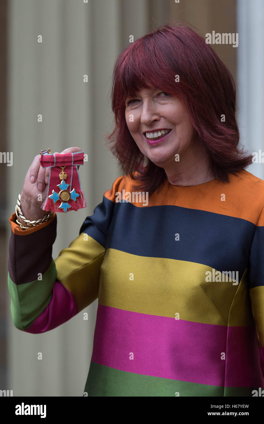 Janet Street-Porter after receiving her Commander of the Order of the British Empire (CBE) for service to her industry - Stock Image