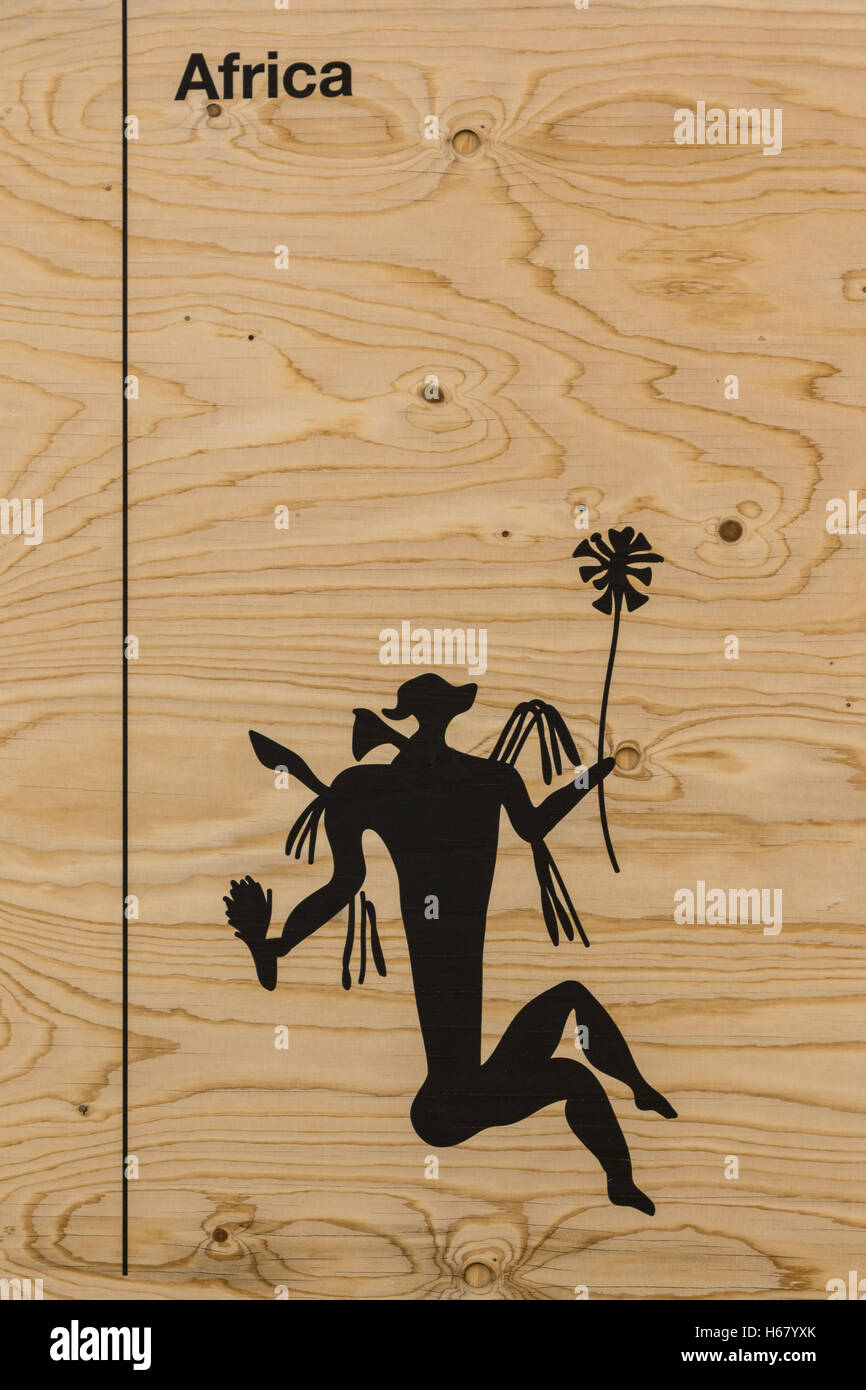 Graphic Silhouette Illustrationon Wooden Background: Man's Body and flowers - Stock Image