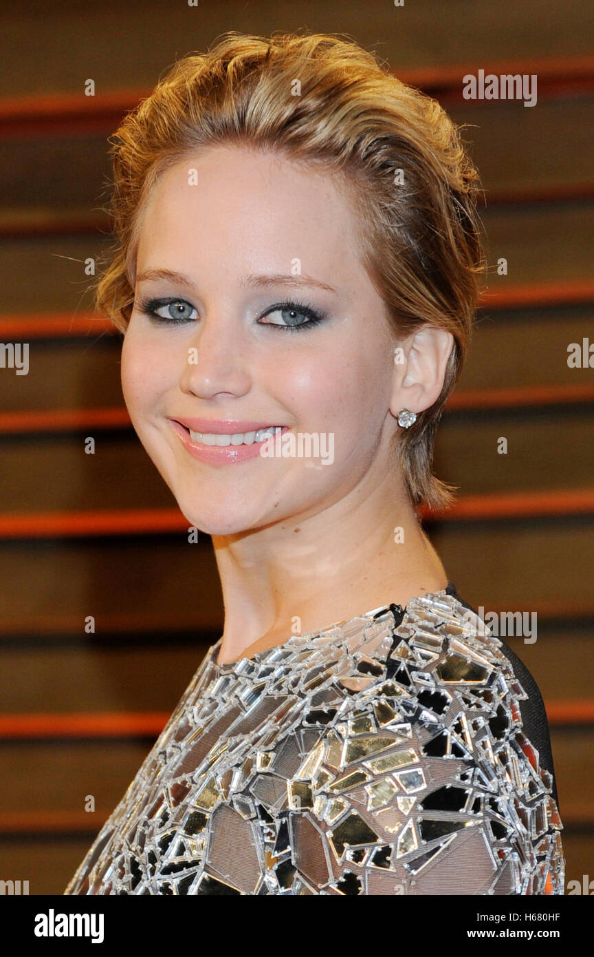 Actress Jennifer Lawrence attends the 2014 Vanity Fair Oscar Party on March 2, 2014 in West Hollywood, California. - Stock Image