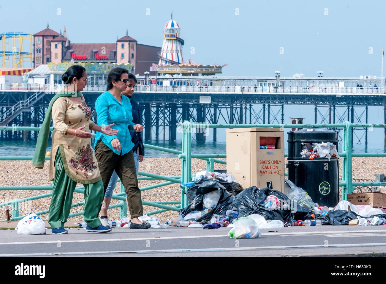 The result of a long strike by Brighton's refuse collectors - Stock Image